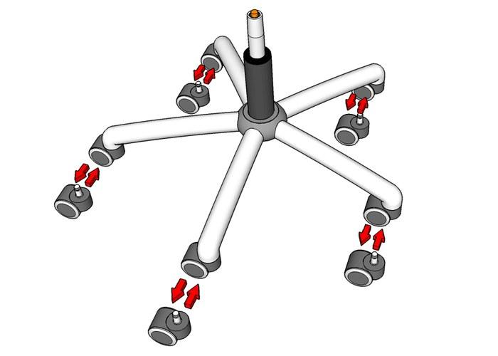 Как отремонтировать колесо у офисного кресла